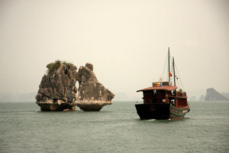 dusk in Ha Long Bay