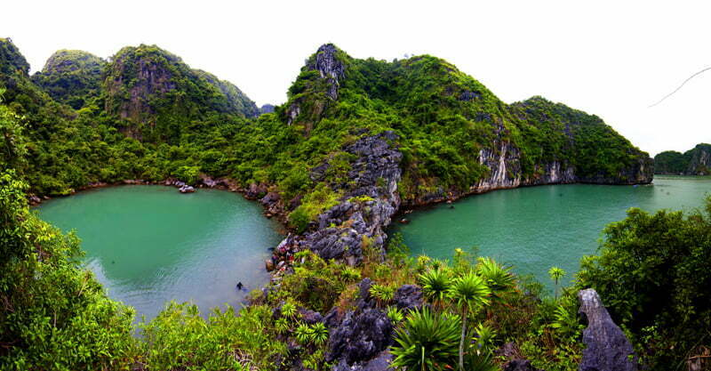 Overview Ba Ham lake Halong Bay